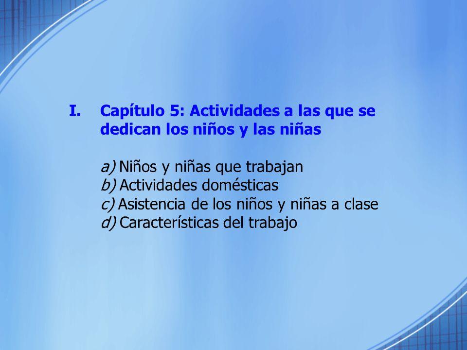 I.Capítulo 5: Actividades a las que se dedican los niños y las niñas a) Niños y niñas que trabajan b) Actividades domésticas c) Asistencia de los niño