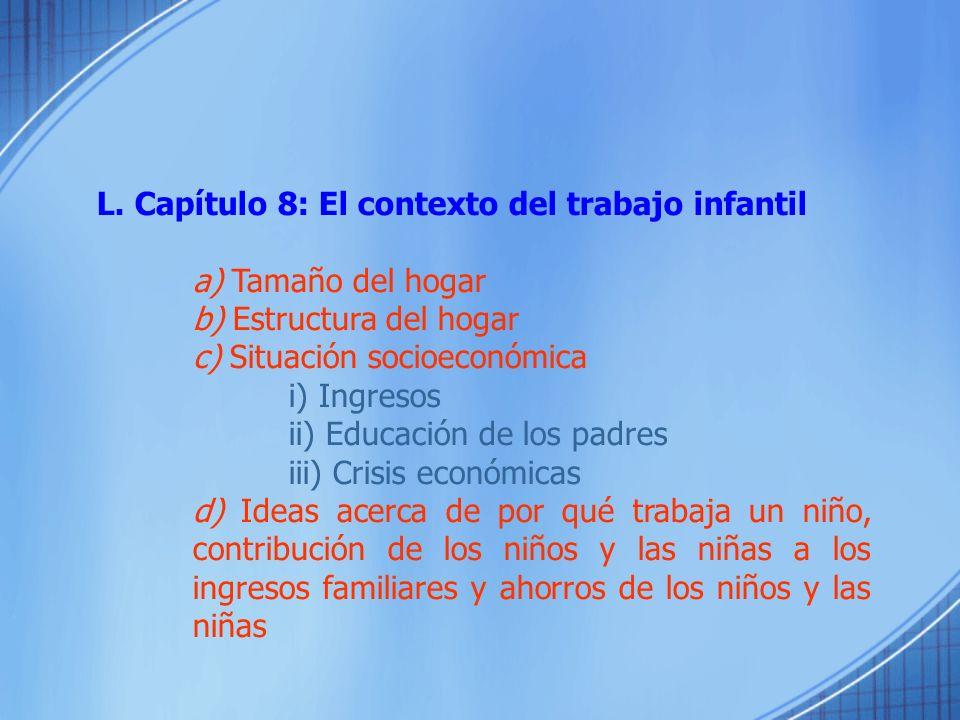 L. Capítulo 8: El contexto del trabajo infantil a) Tamaño del hogar b) Estructura del hogar c) Situación socioeconómica i) Ingresos ii) Educación de l
