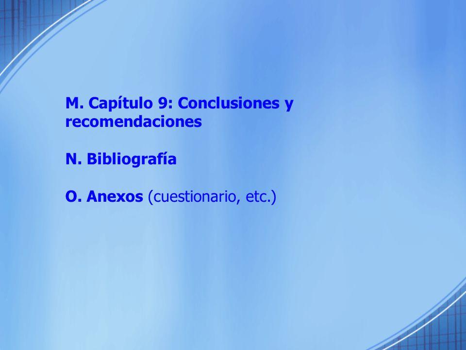 M. Capítulo 9: Conclusiones y recomendaciones N. Bibliografía O. Anexos (cuestionario, etc.)