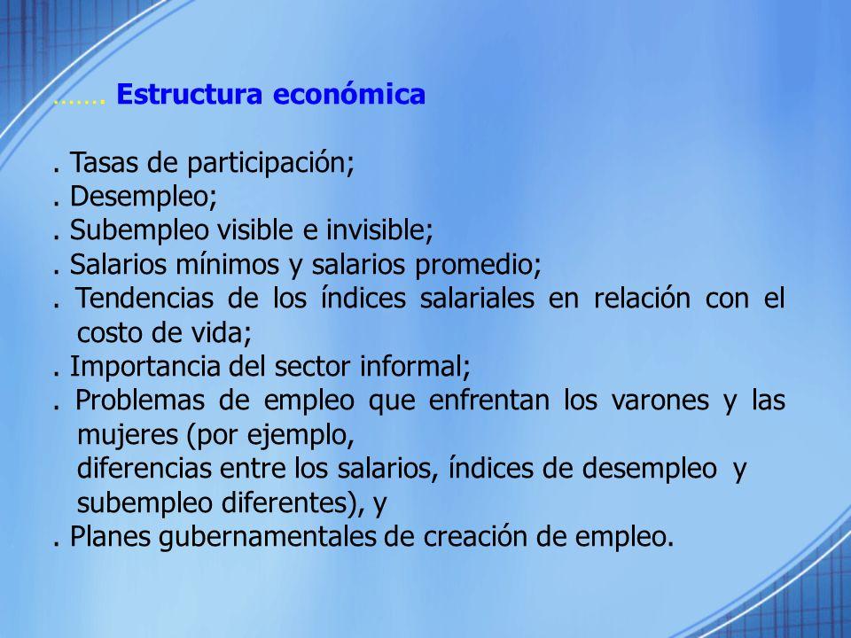 ……. Estructura económica. Tasas de participación;. Desempleo;. Subempleo visible e invisible;. Salarios mínimos y salarios promedio;. Tendencias de lo
