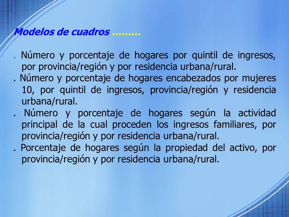 Modelos de cuadros ………. Número y porcentaje de hogares por quintil de ingresos, por provincia/región y por residencia urbana/rural.. Número y porcenta