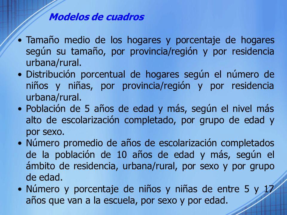 Modelos de cuadros Tamaño medio de los hogares y porcentaje de hogares según su tamaño, por provincia/región y por residencia urbana/rural. Distribuci