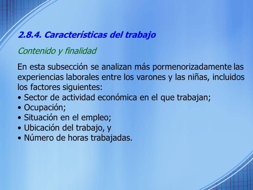 2.8.4. Características del trabajo Contenido y finalidad En esta subsección se analizan más pormenorizadamente las experiencias laborales entre los va