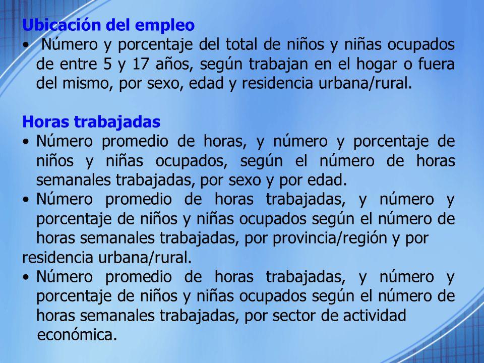 Ubicación del empleo Número y porcentaje del total de niños y niñas ocupados de entre 5 y 17 años, según trabajan en el hogar o fuera del mismo, por s