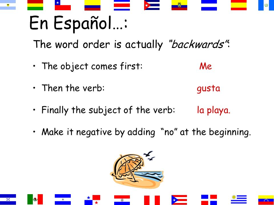 En Español…: The word order is actually backwards: The object comes first: Me Then the verb:gusta Finally the subject of the verb:la playa.