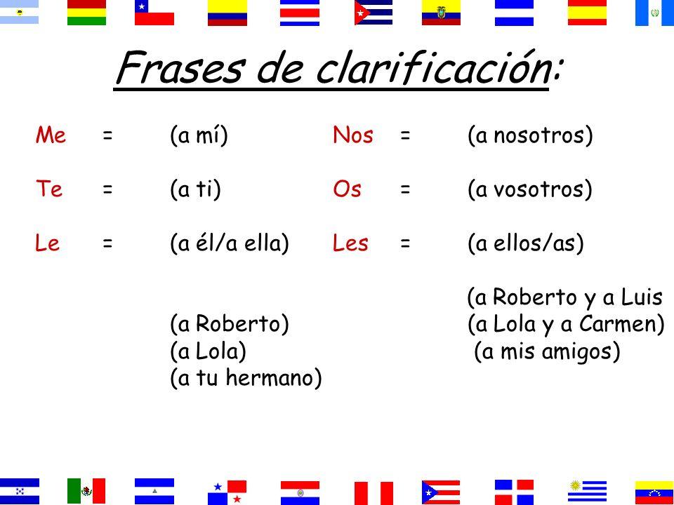 Frases de clarificación: Me=(a mí) Te=(a ti) Le=(a él/a ella) (a Roberto) (a Lola) (a tu hermano) Nos=(a nosotros) Os=(a vosotros) Les=(a ellos/as) (a Roberto y a Luis (a Lola y a Carmen) (a mis amigos)