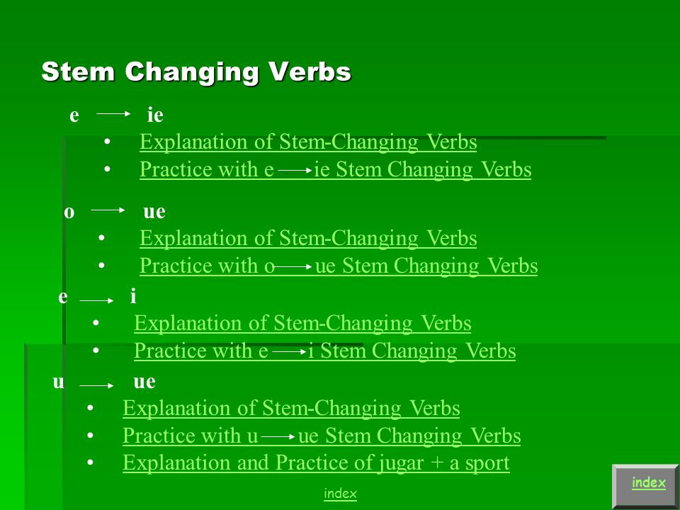 Stem Changing Verbs index e ie Explanation of Stem-Changing Verbs Practice with e ie Stem Changing Verbs o ue Explanation of Stem-Changing Verbs Practice with o ue Stem Changing Verbs u ue Explanation of Stem-Changing Verbs Practice with u ue Stem Changing Verbs Explanation and Practice of jugar + a sport index e i Explanation of Stem-Changing Verbs Practice with e i Stem Changing Verbs