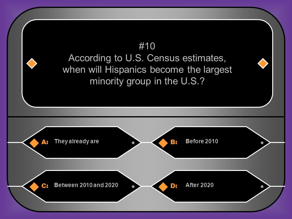A:B: They already areBefore 2010 #10 According to U.S.