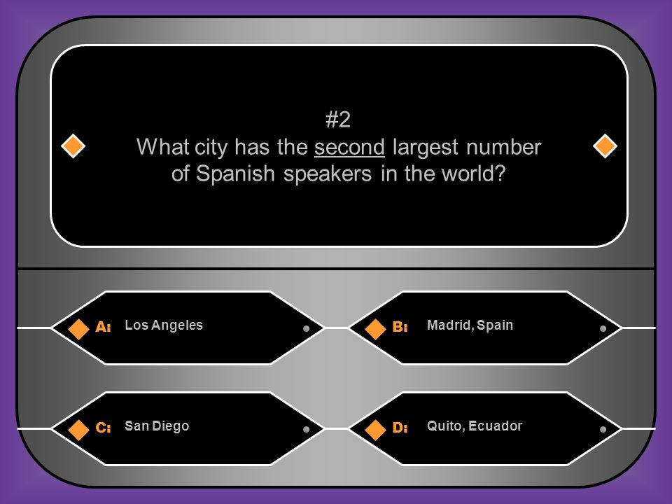 A:B: Los AngelesMadrid, Spain #2 What city has the second largest number of Spanish speakers in the world.