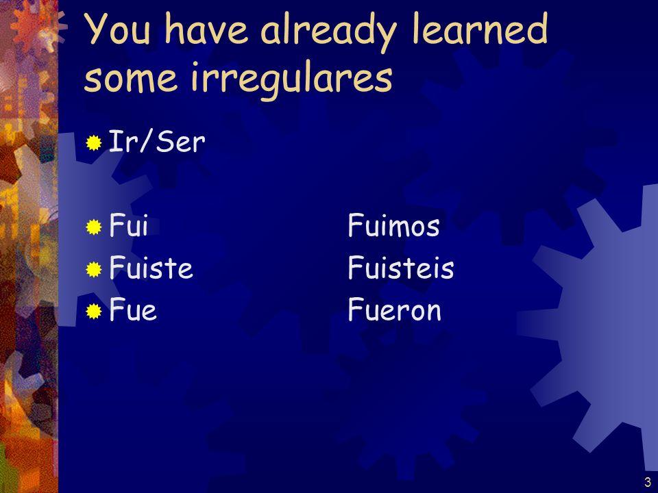 You have already learned some irregulares Ir/Ser FuiFuimos FuisteFuisteis FueFueron 3