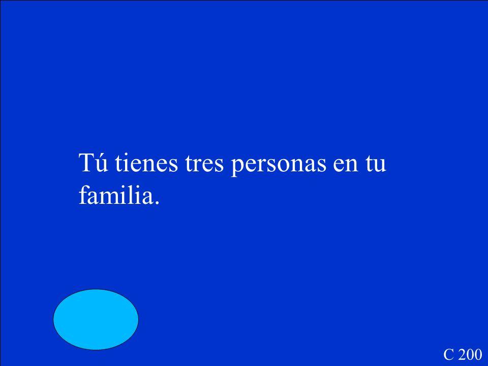 Tú _____ tres personas en tu familia. C 200