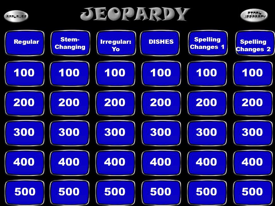 100 200 300 400 500 Regular Stem- Changing Irregular: Yo Spelling Changes 1 Spelling Changes 2 DISHES