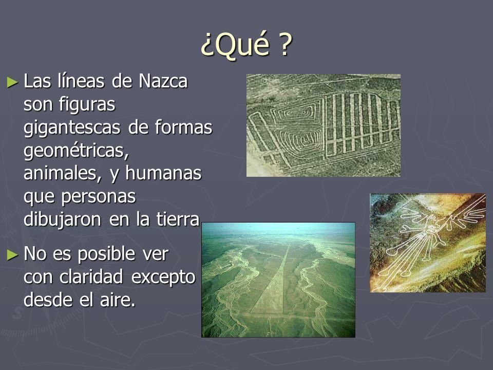 ¿Qué ? Las líneas de Nazca son figuras gigantescas de formas geométricas, animales, y humanas que personas dibujaron en la tierra. Las líneas de Nazca