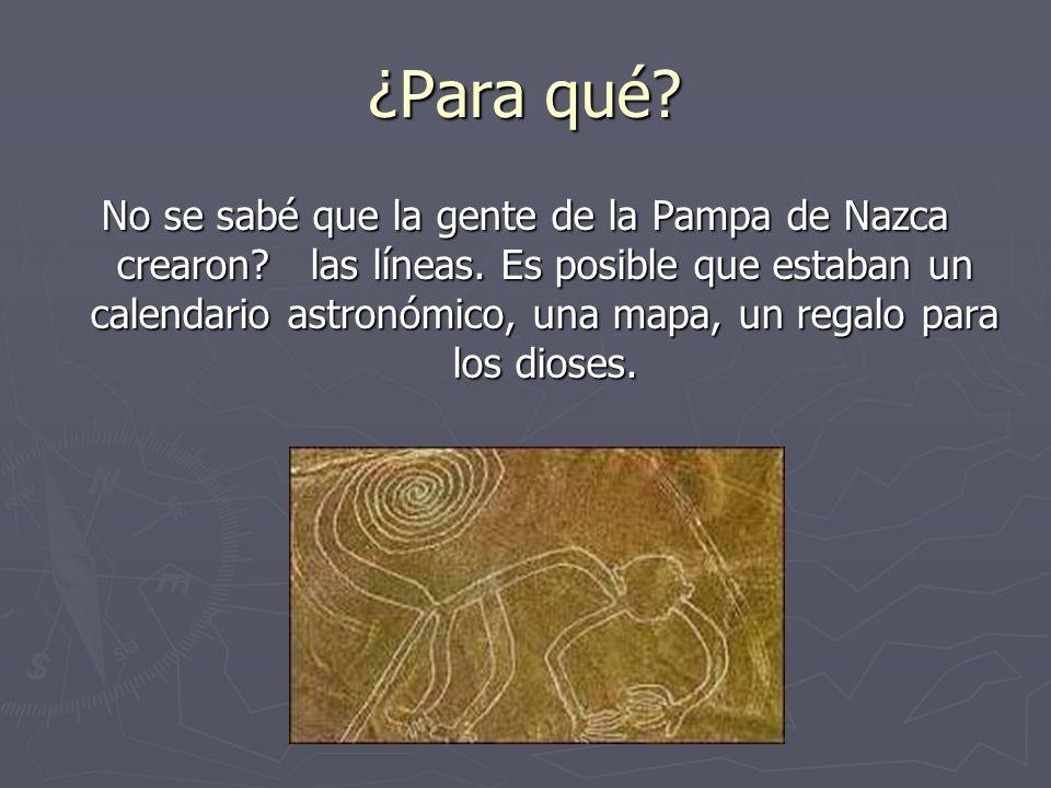¿Para qué? No se sabé que la gente de la Pampa de Nazca crearon? las líneas. Es posible que estaban un calendario astronómico, una mapa, un regalo par
