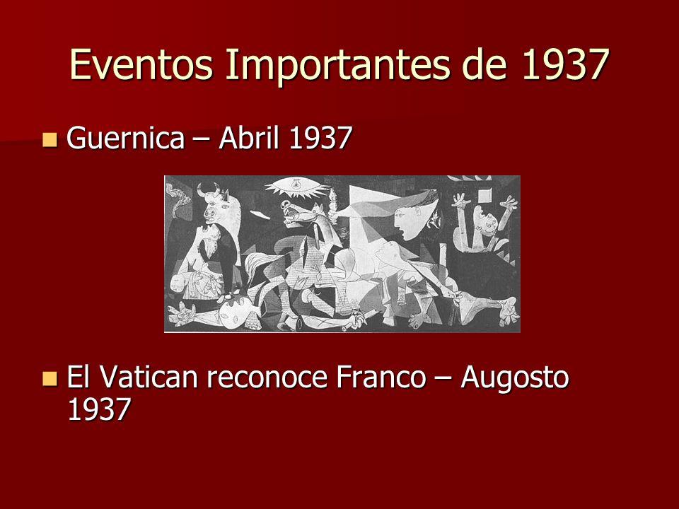 Eventos Importantes de 1937 Guernica – Abril 1937 Guernica – Abril 1937 El Vatican reconoce Franco – Augosto 1937 El Vatican reconoce Franco – Augosto