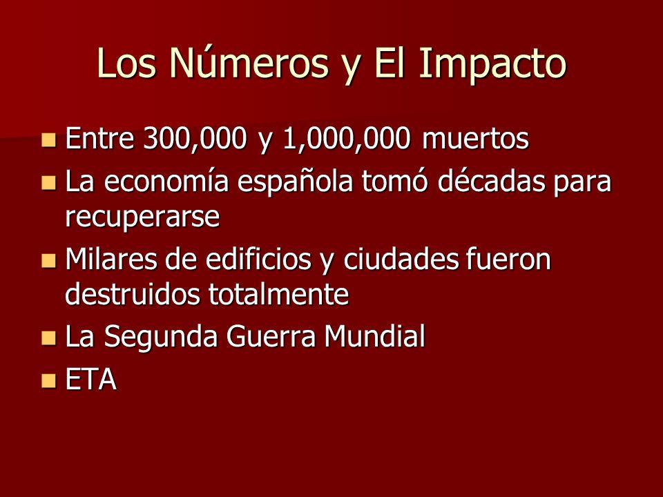 Los Números y El Impacto Entre 300,000 y 1,000,000 muertos Entre 300,000 y 1,000,000 muertos La economía española tomó décadas para recuperarse La eco