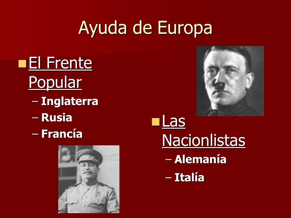 Ayuda de Europa El Frente Popular El Frente Popular –Inglaterra –Rusia –Francía Las Nacionlistas Las Nacionlistas –Alemanía –Italía