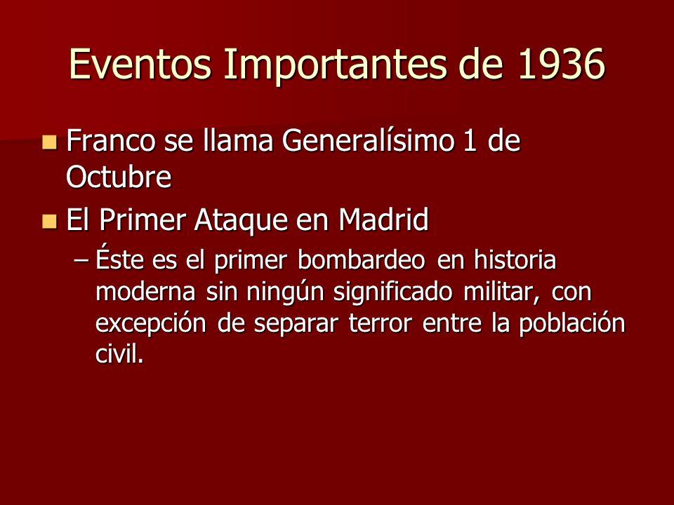 Eventos Importantes de 1936 Franco se llama Generalísimo 1 de Octubre Franco se llama Generalísimo 1 de Octubre El Primer Ataque en Madrid El Primer A