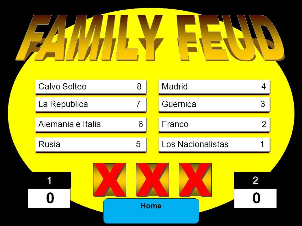8) X X X X X X 7) X X X X X X 6) X X X X X X 5) X X X X X X 4) X X X X X X 3) X X X X X X 2) X X X X X X 1) X X X X X X Calvo Solteo 8 La Republica 7 Alemania e Italia 6 Rusia 5 Madrid 4 Guernica 3 Franco 2 Los Nacionalistas 1 Home