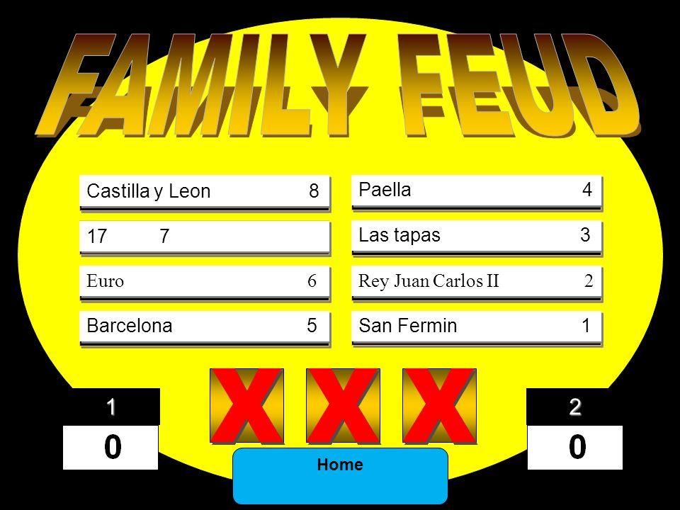 DINOSAUR43 FOSSIL21 SHELLS12 JARASSIC13 EONS5 PERIOD3 SEDIMENT2 5) X X X X X X 4) X X X X X X 3) X X X X X X 2) 1) 8) X X X X X X 7) X X X X X X 6) X X X X X X Castilla y Leon 8 17 7 Euro 6 Barcelona 5 Paella 4 Las tapas 3 Rey Juan Carlos II 2 San Fermin 1 Home