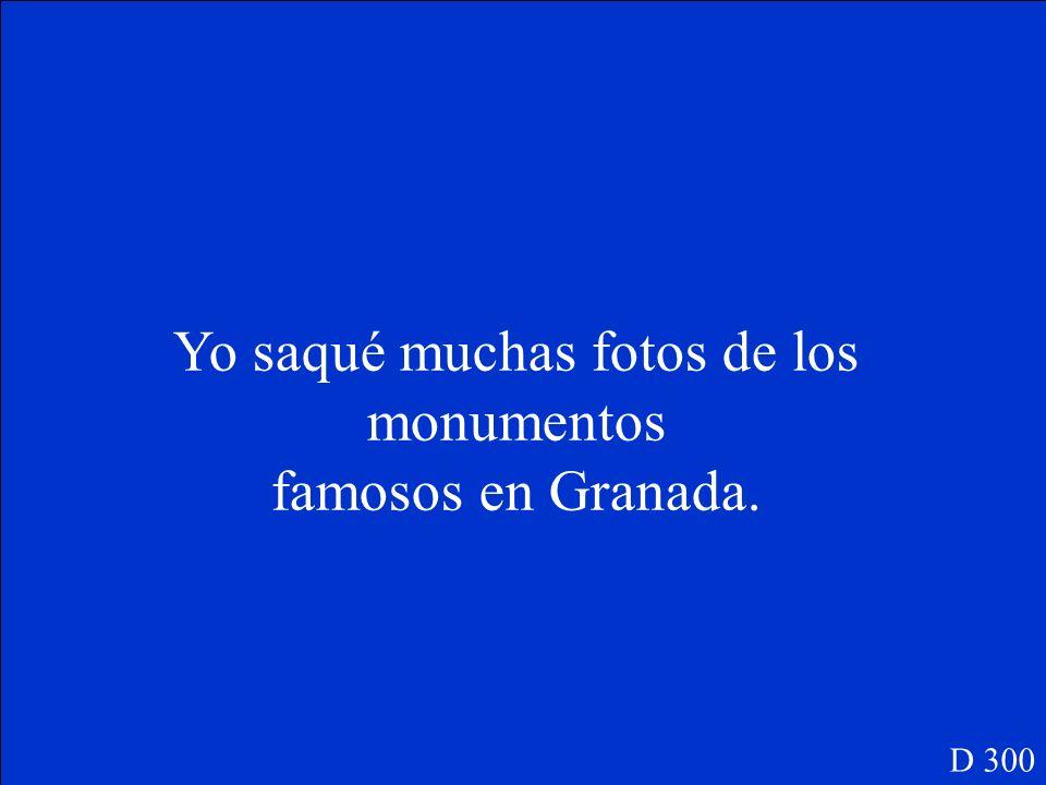 Yo _______(sacar) muchas fotos de los monumentos famosos en Granada. D 300