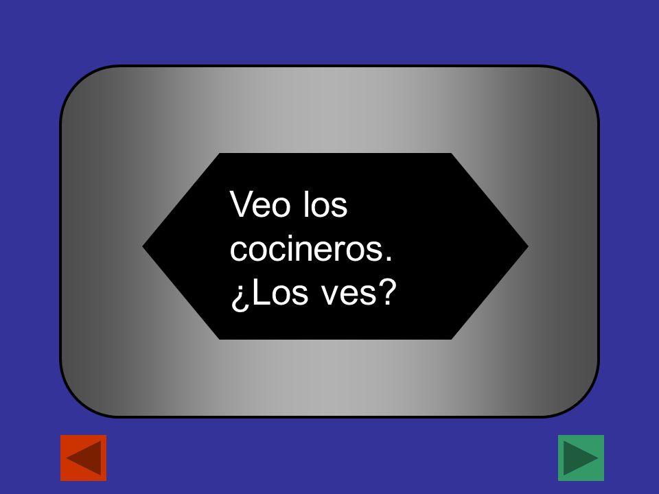 A B C D Lo La LosLas Veo los cocineros. ¿_____ ves