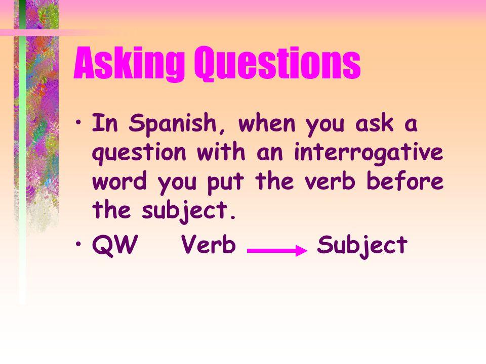 Asking Questions ¿Qué. ¿Cómo. ¿Quién. ¿Con quién.
