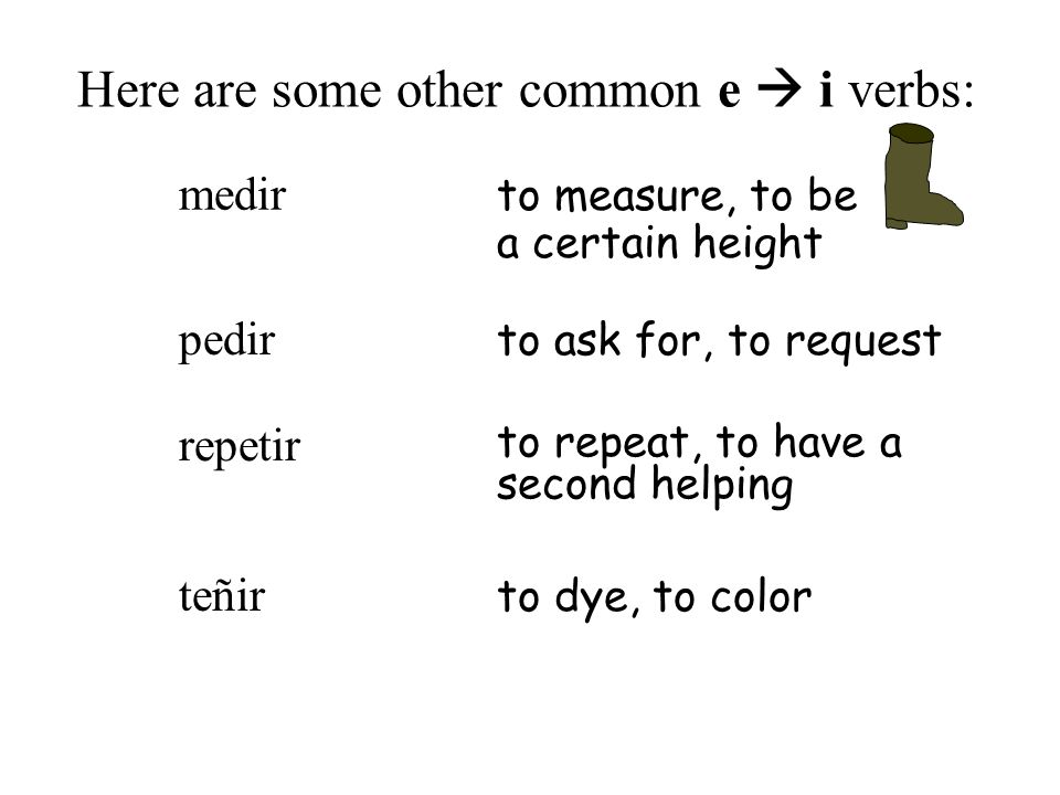 Here are some other common e i verbs: repetir to repeat, to have a second helping pedir to ask for, to request medir to measure, to be a certain heigh