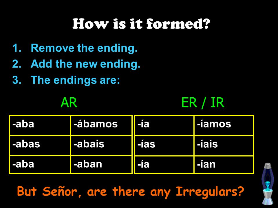 How is it formed.Remove the ending. Add the new ending.