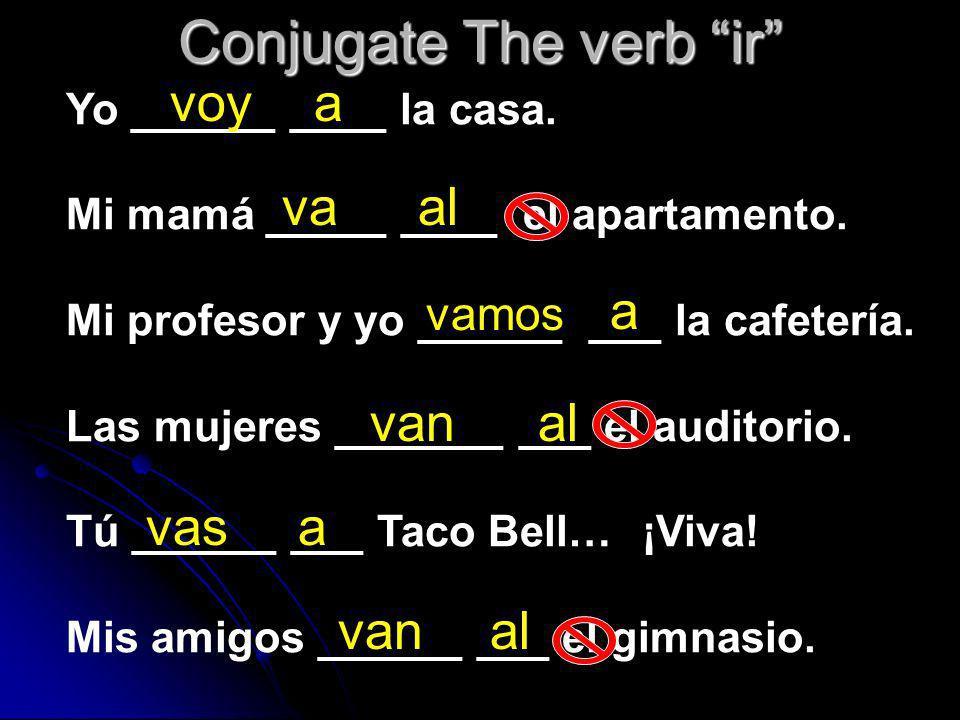 Conjugate The verb ir Yo ______ ____ la casa.Mi mamá _____ ____ el apartamento.