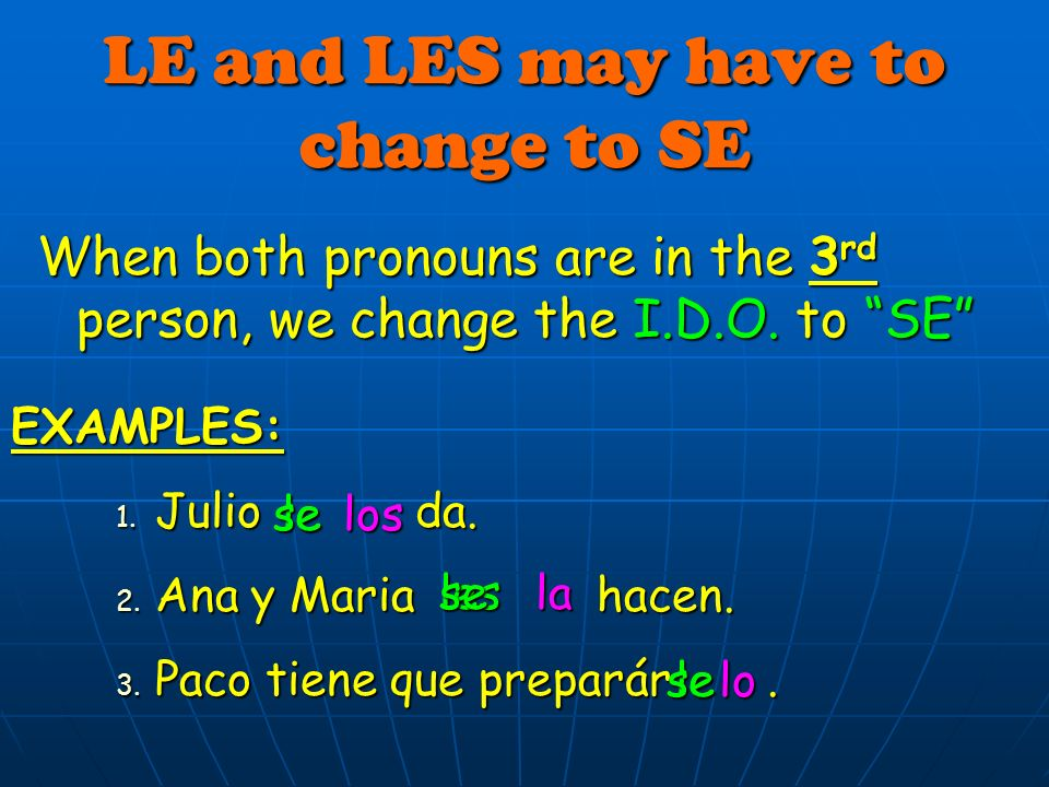 LE and LES may have to change to SE When both pronouns are in the 3 rd person, we change the I.D.O.