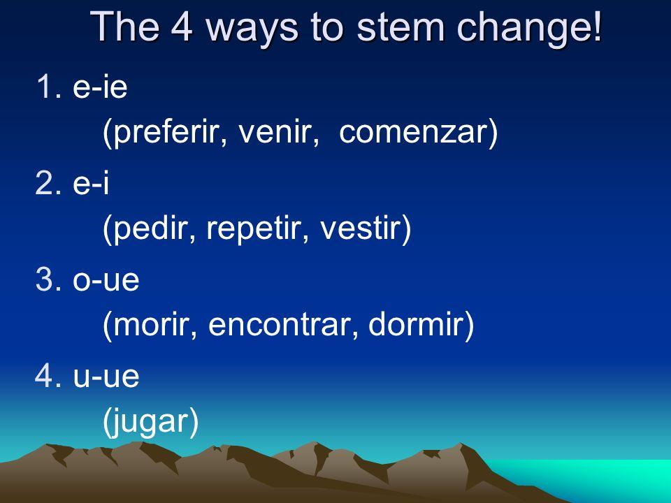 Conjugate into the present tense 1.(yo)preferir 2.(ellos) servir 3.(nosotros) vestirse 4.(tú) competir 5.(usted) seguir