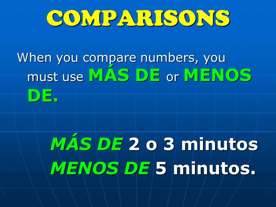 When you compare numbers, you must use MÁS DE or MENOS DE.