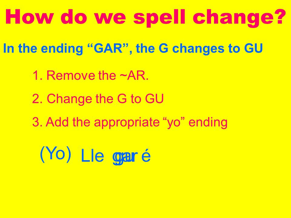 In the ending GAR, the G changes to GU How do we spell change.