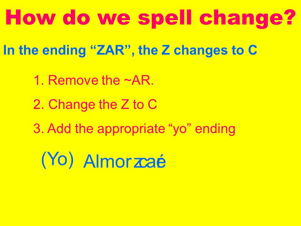 In the ending ZAR, the Z changes to C How do we spell change.