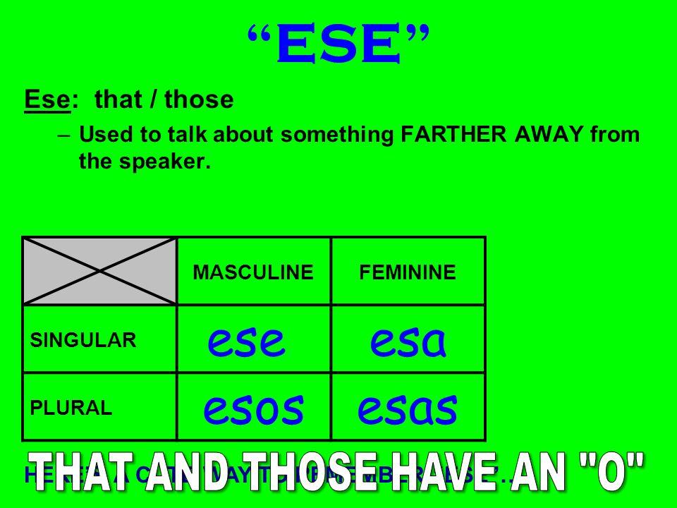 ESTE Este: this / these –Used to talk about something CLOSE to the speaker. MASCULINEFEMININE SINGULAR este esta PLURAL estos estas HERES A CUTE WAY T