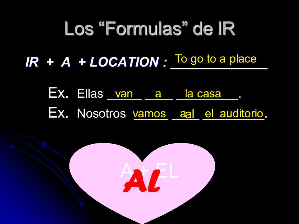 Los Formulas de IR IR + A + LOCATION : _____________ IR + A + LOCATION : _____________ To go to a place Ex.