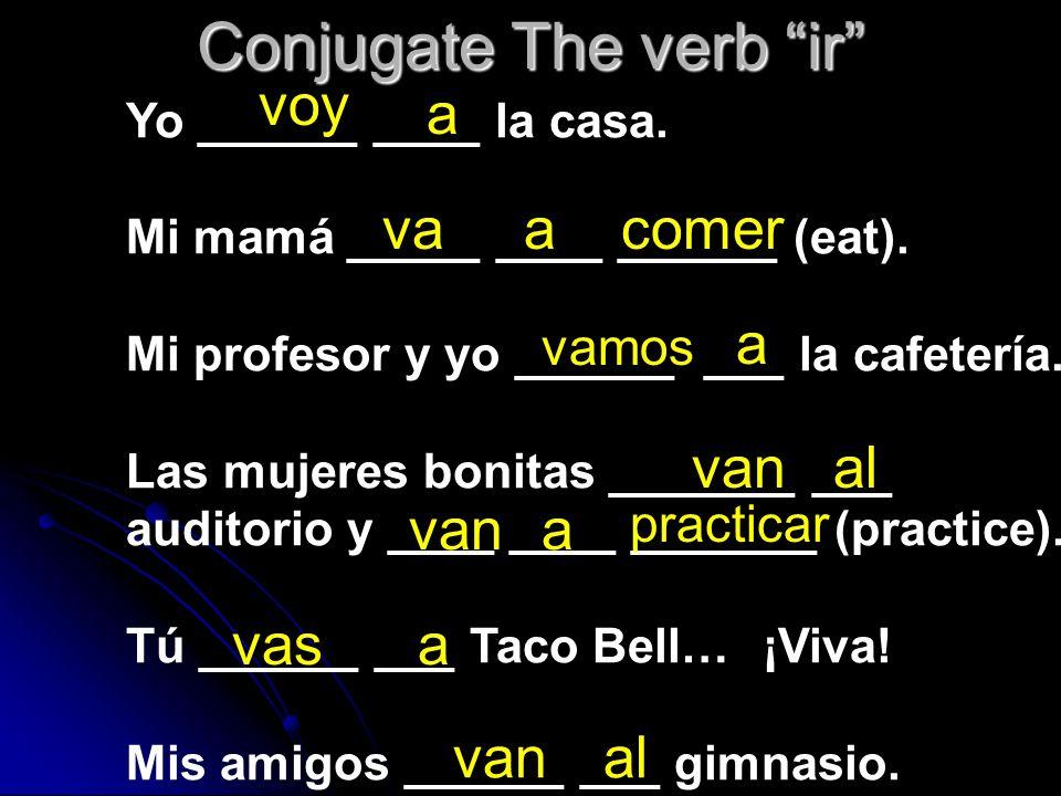 Los Formulas de IR 2. IR + A + INFINITIVE : ________________ Going to do something Ex. Ellas _____ ____ _________. avancomer Ex. Nosotros _____ ____ _