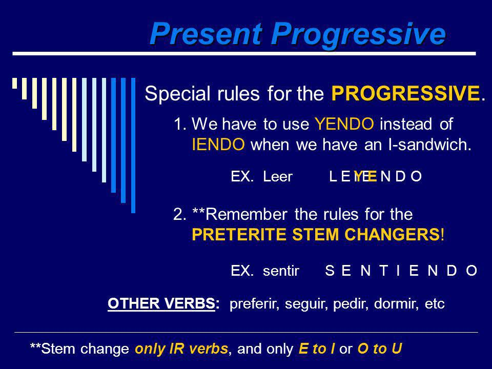 Present Progressive estoyestamos estásestáis estáestán 1. Present Progressive means -ING something (the action is happening as the sentence is being s
