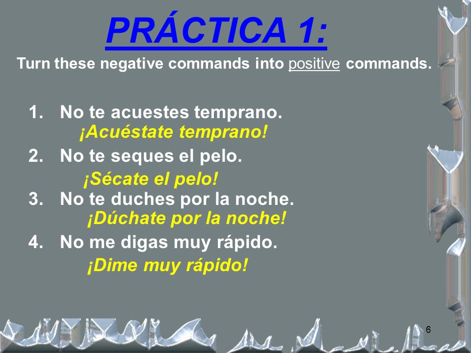 5 THE ACCENT ALWAYS GOES ON THE SECOND TO LAST SYLLABLE OF THE ORIGINAL WORD! ¡Accent placement!