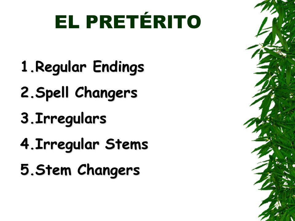 EL PRETÉRITO 1.Regular Endings 2.Spell Changers 3.Irregulars 4.Irregular Stems 5.Stem Changers