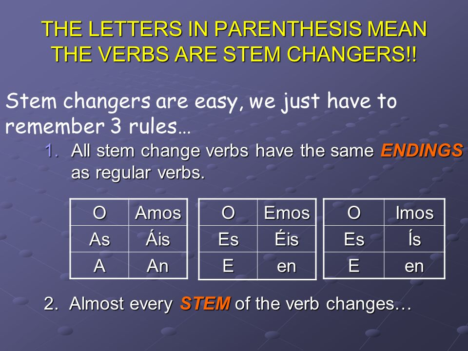 THE LETTERS IN PARENTHESIS MEAN THE VERBS ARE STEM CHANGERS!.