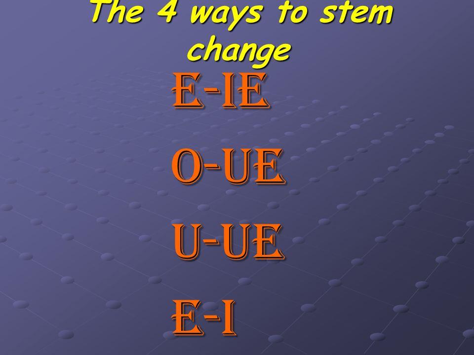 The 4 ways to stem change E-IEO-UEU-UEE-I
