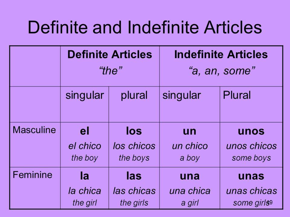 49 Definite and Indefinite Articles Definite Articles the Indefinite Articles a, an, some singularpluralsingularPlural Masculine el el chico the boy l