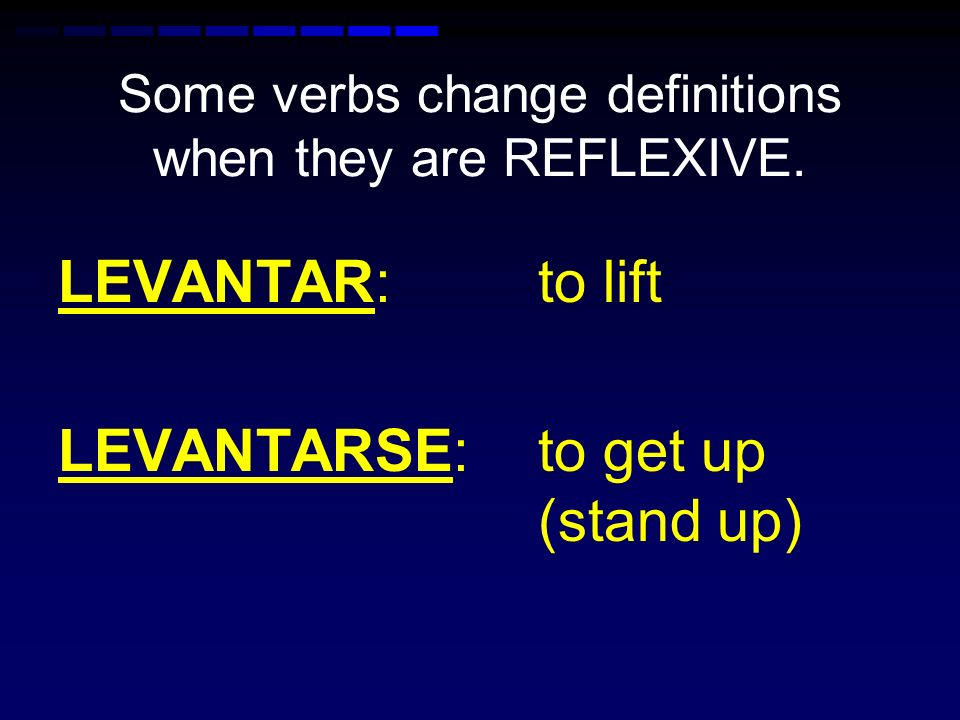 Some verbs change definitions when they are REFLEXIVE. PONER: to put/place PONERSE: to put on (as in clothes)