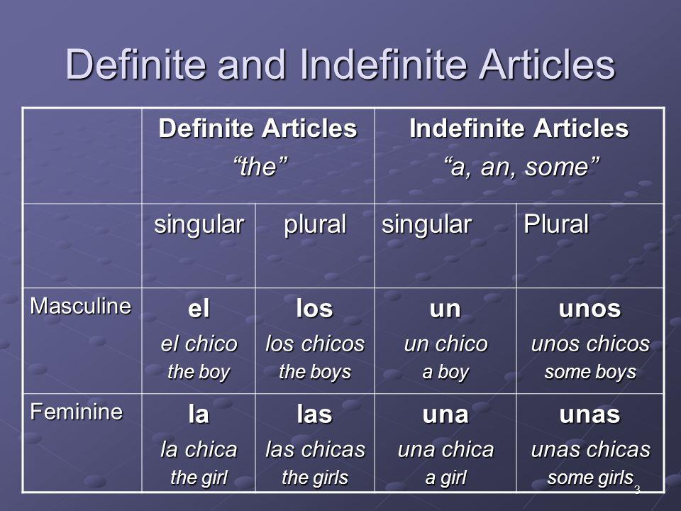 4 Definite Articles Practica: Write the correct definite article (el, la, los, las) ______ chico______ maestros ______ mujer______ persona ______ hombre______ profesoras ______ doctora______ amigo ______ profesor______ amiga ______ señoras______ doctor ______ bolígrafos______ chicas las los las la el