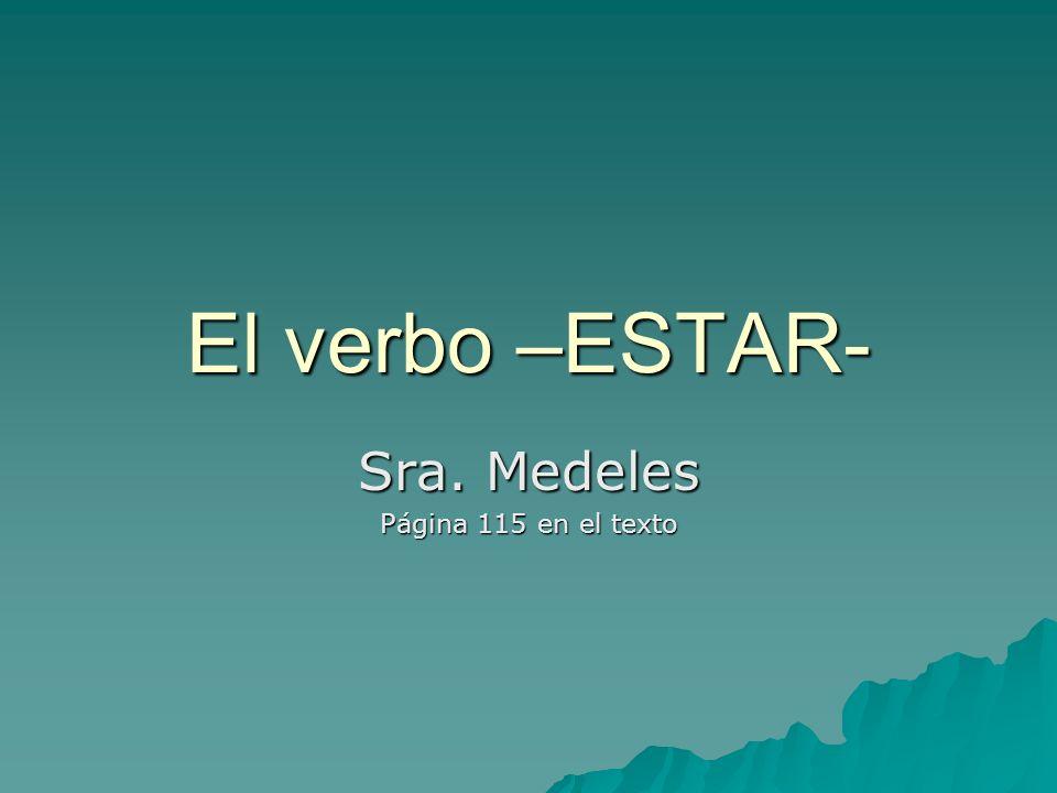 El verbo –ESTAR- Sra. Medeles Página 115 en el texto