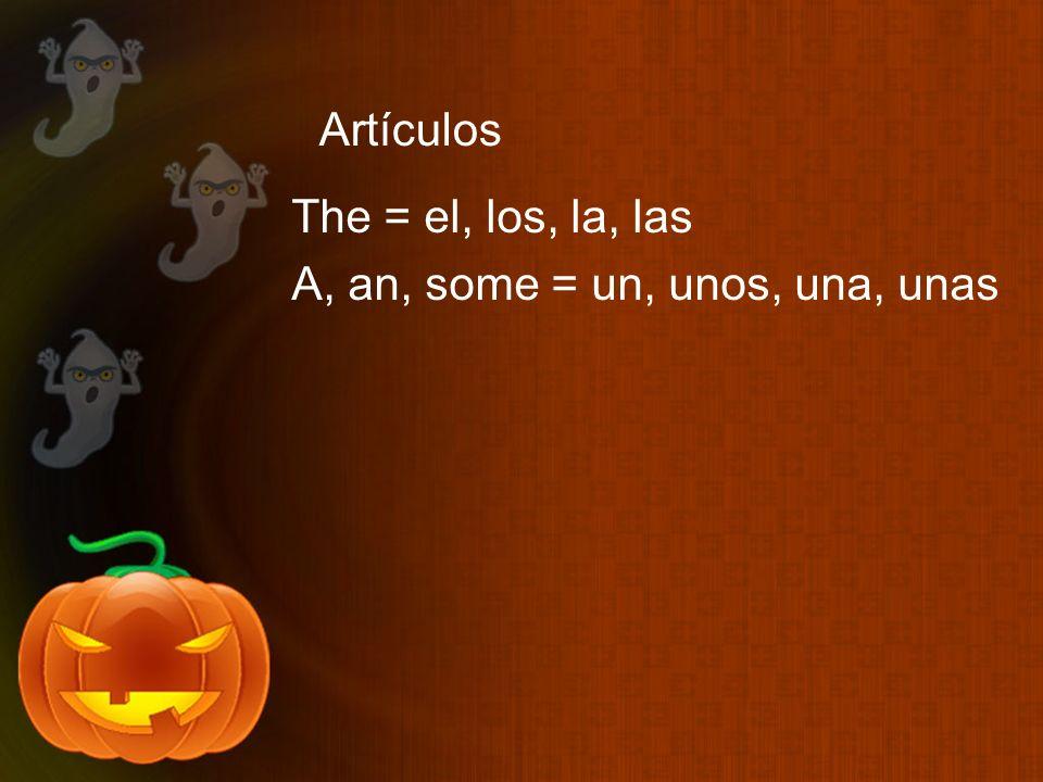 Artículos The = el, los, la, las A, an, some = un, unos, una, unas