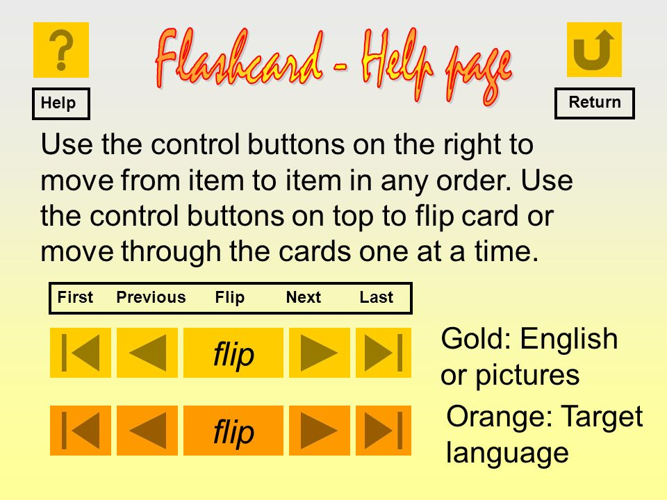 Use the control buttons on the right to move from item to item in any order. Use the control buttons on top to flip card or move through the cards one