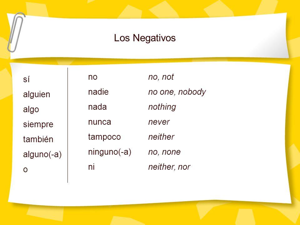 Los Negativos sí alguien algo siempre también alguno(-a) o nono, not nadieno one, nobody nadanothing nuncanever tampoconeither ninguno(-a)no, none nin